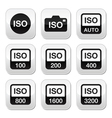 Iso - camera film speed standard buttons set vector