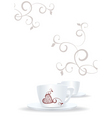 White cups and brown heart vector