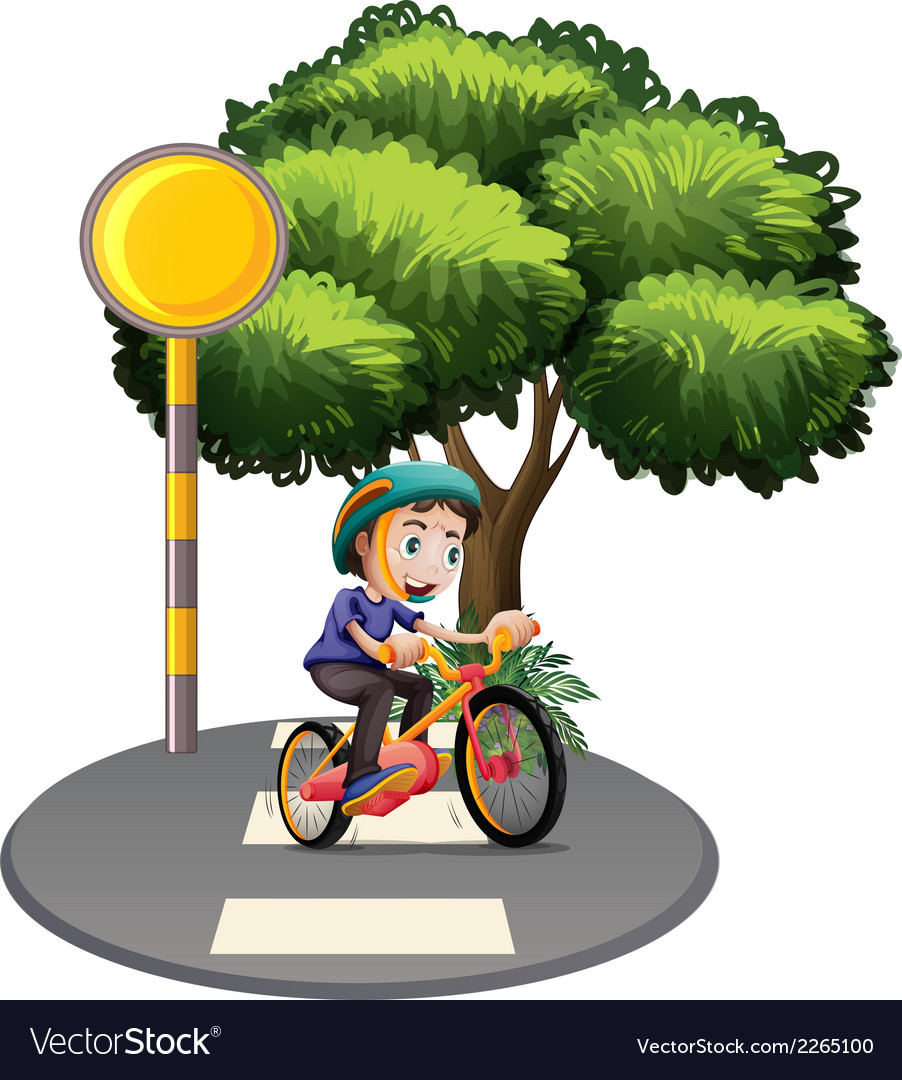 A boy biking at the road vector | Price: 1 Credit (USD $1)