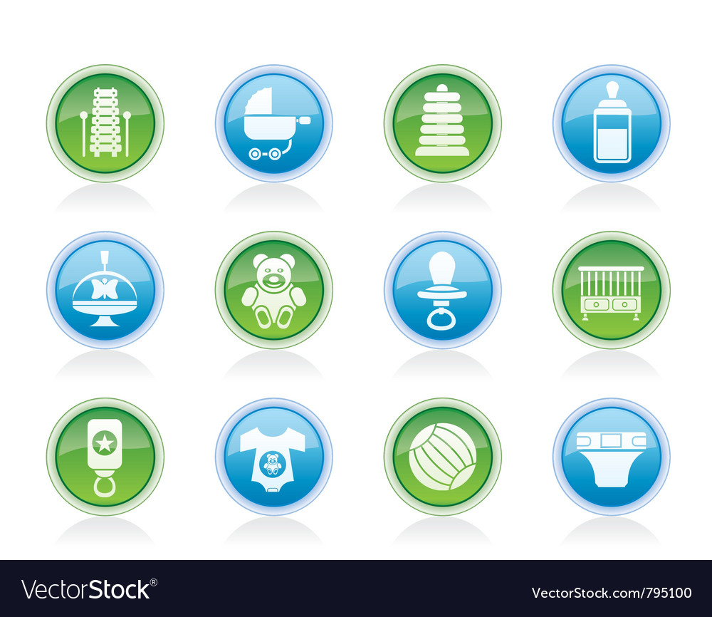 Child and baby online shop icons vector | Price: 1 Credit (USD $1)