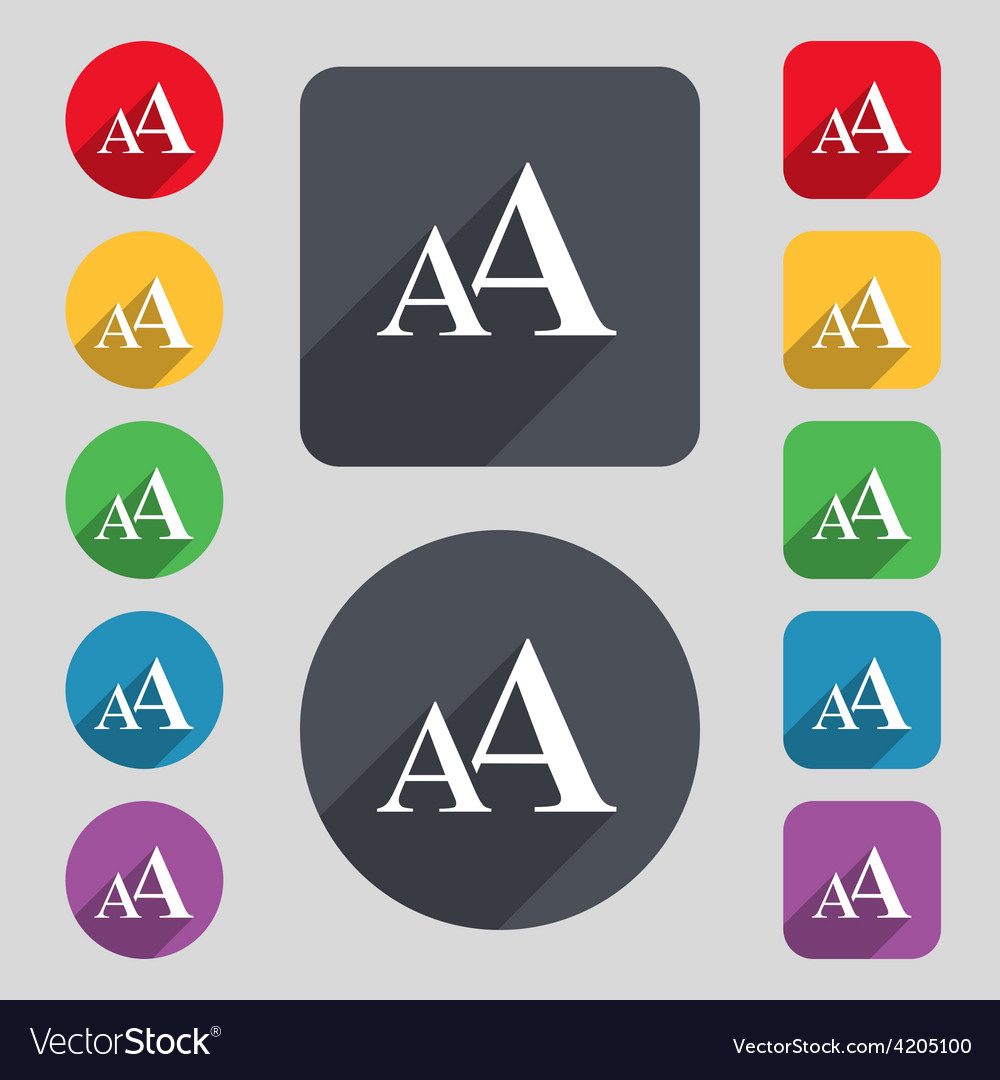 Enlarge font aa icon sign a set of 12 colored vector | Price: 1 Credit (USD $1)