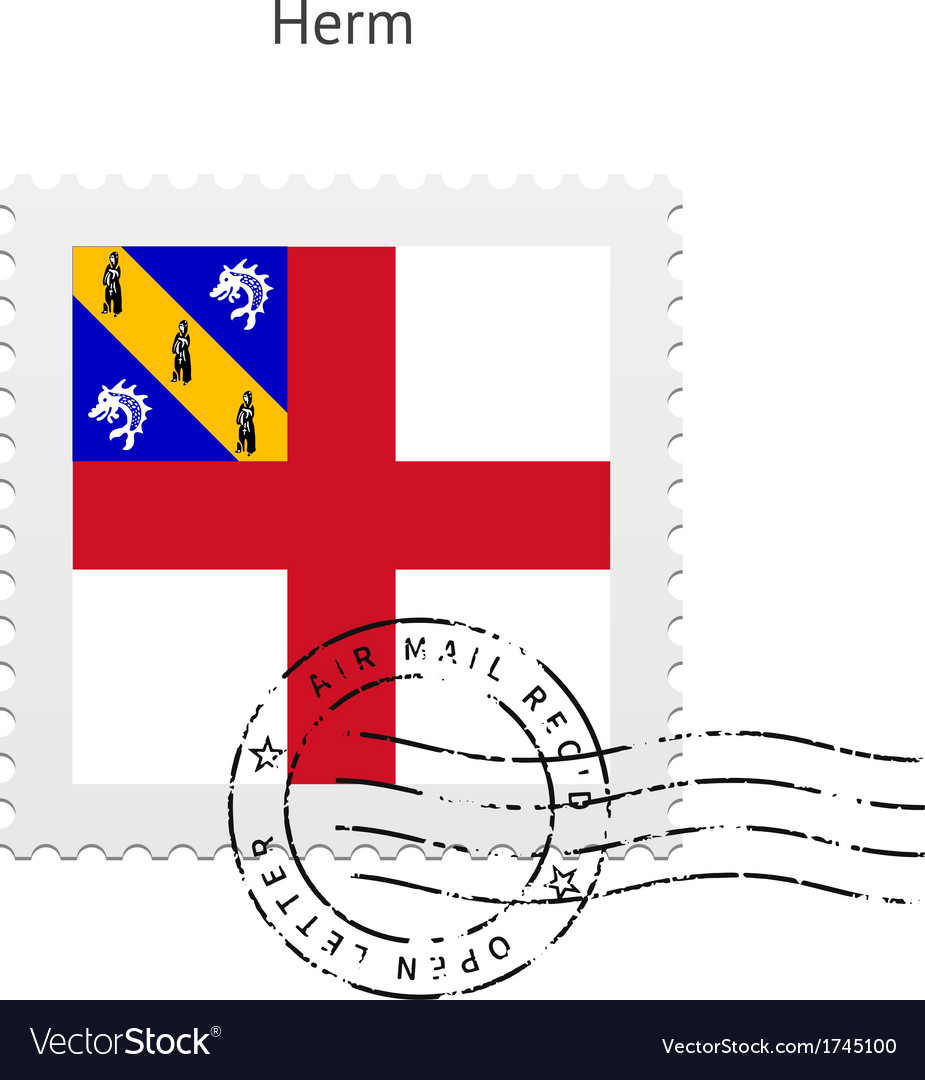 Herm flag postage stamp vector | Price: 1 Credit (USD $1)