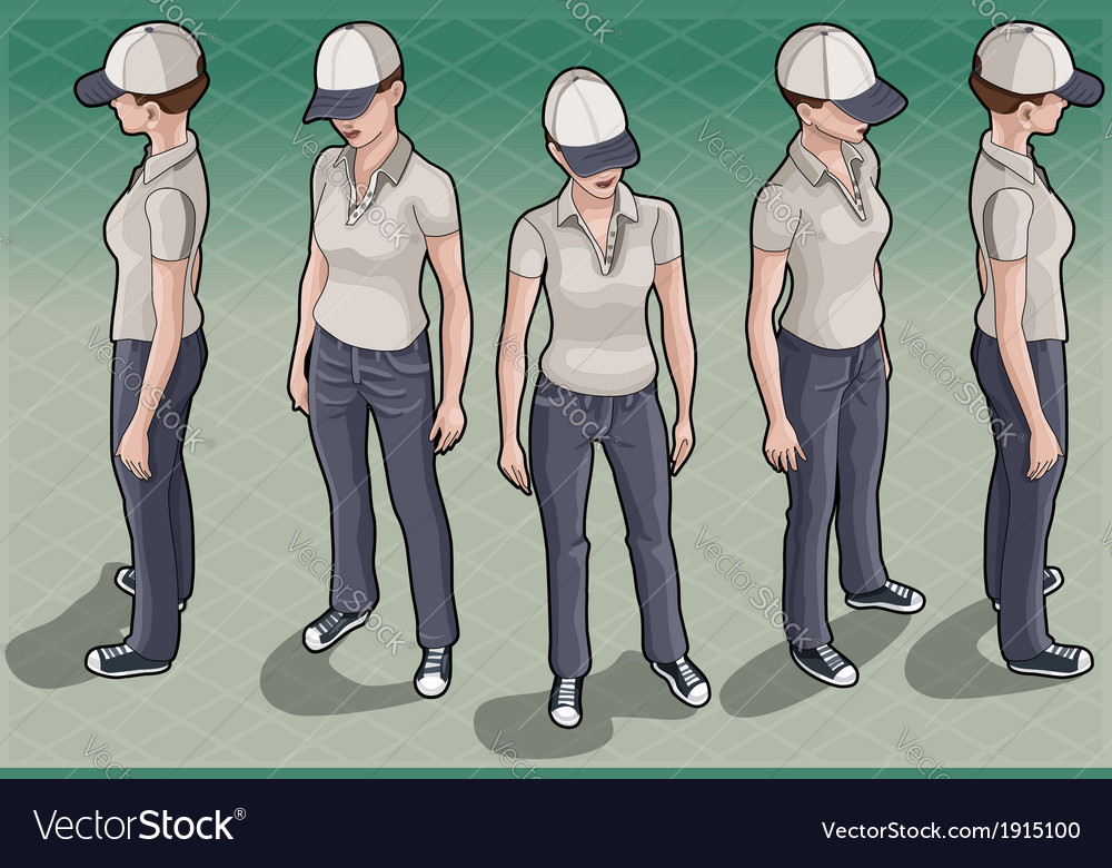 Isometric service woman in five positions vector | Price: 1 Credit (USD $1)
