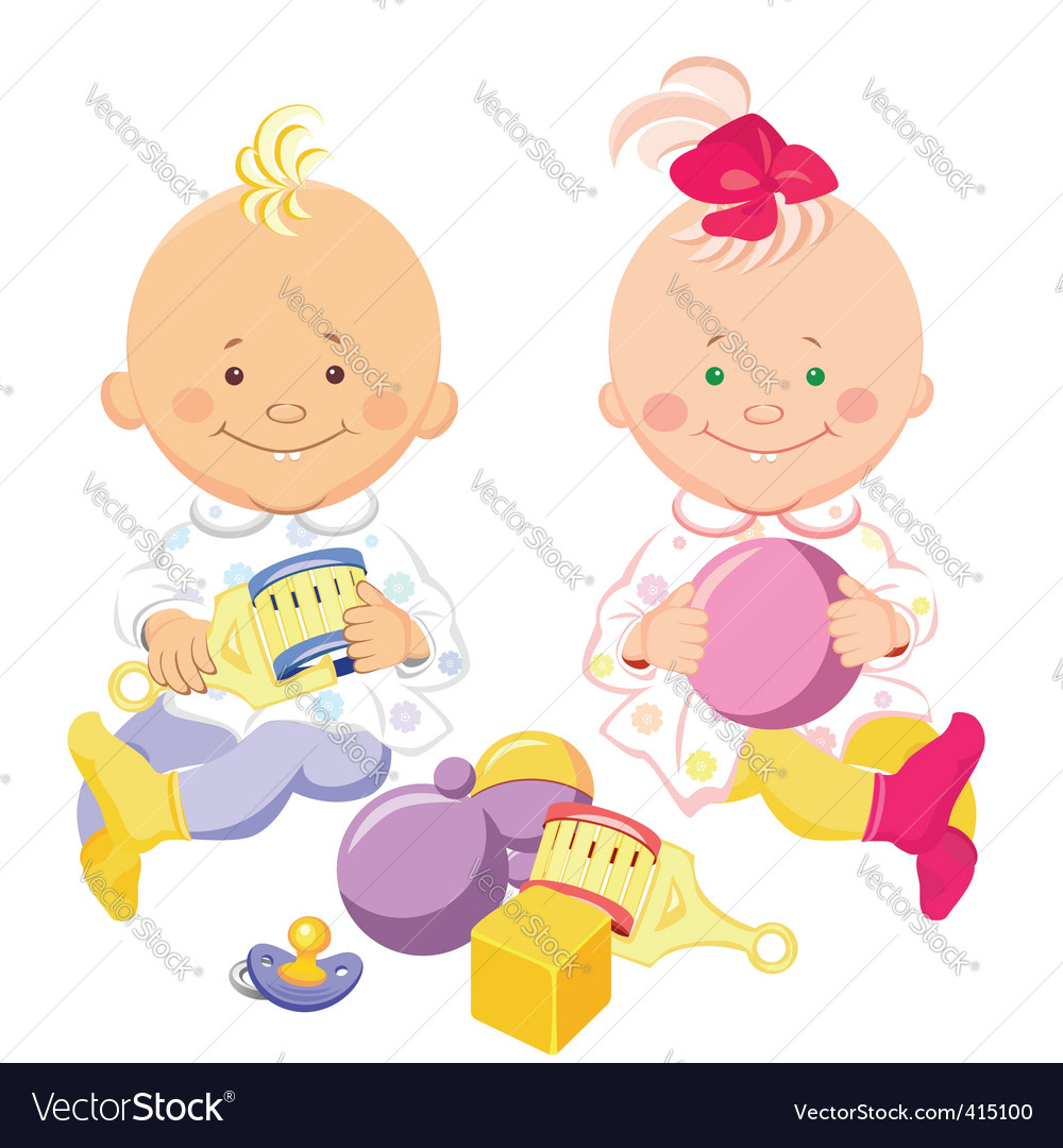 Kids play with toys vector | Price: 1 Credit (USD $1)