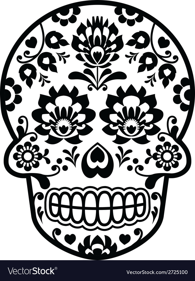 Mexican sugar skull  polish folk art style vector