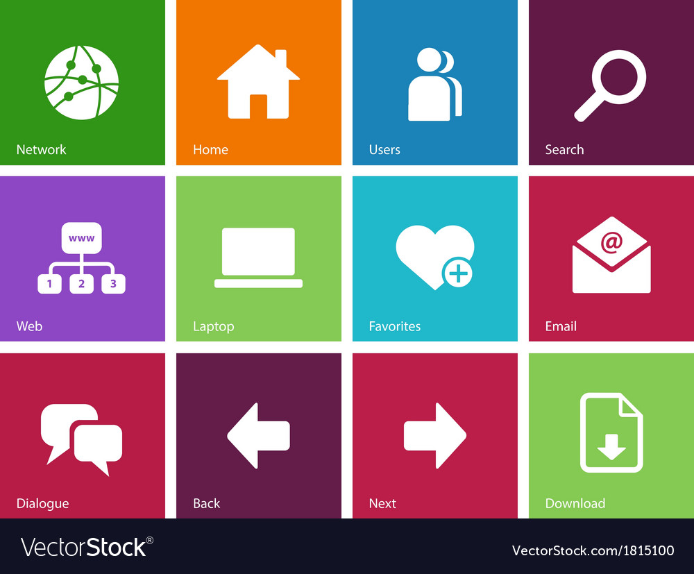 Network icons on color background vector | Price: 1 Credit (USD $1)