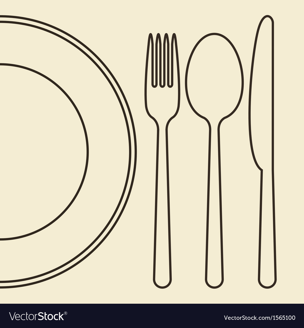 Plate knife fork and spoon vector | Price: 1 Credit (USD $1)