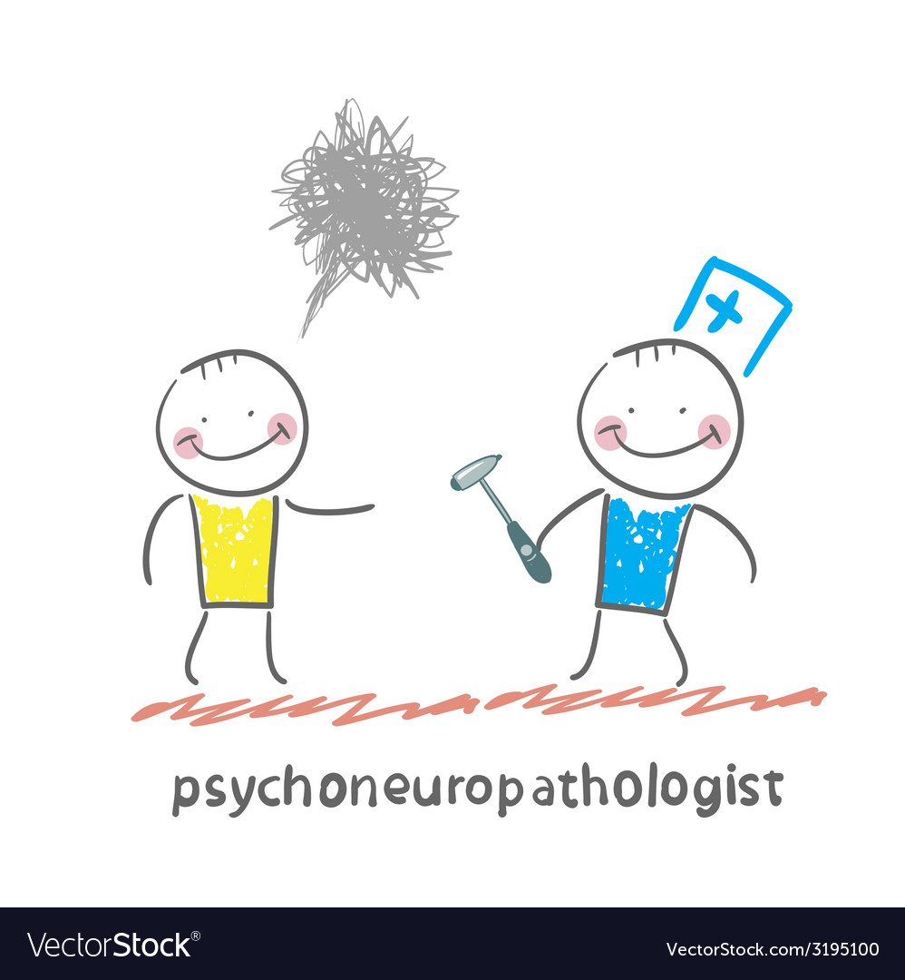 Psychoneuropathologist stands next to a distraught vector | Price: 1 Credit (USD $1)