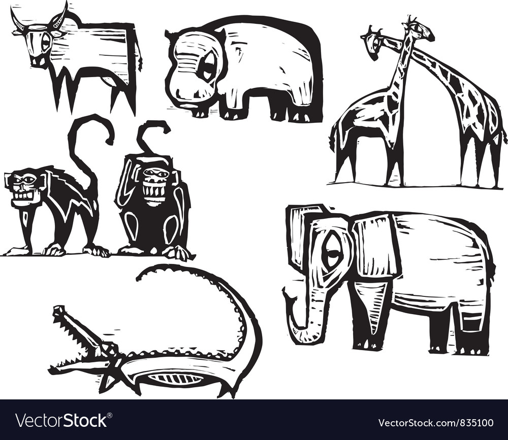 Safari animal set vector | Price: 1 Credit (USD $1)