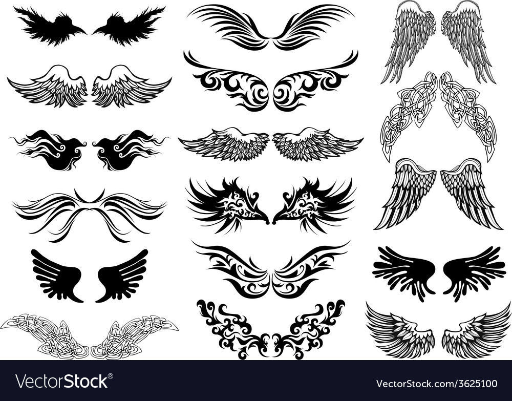 Wings tattoo set vector | Price: 1 Credit (USD $1)