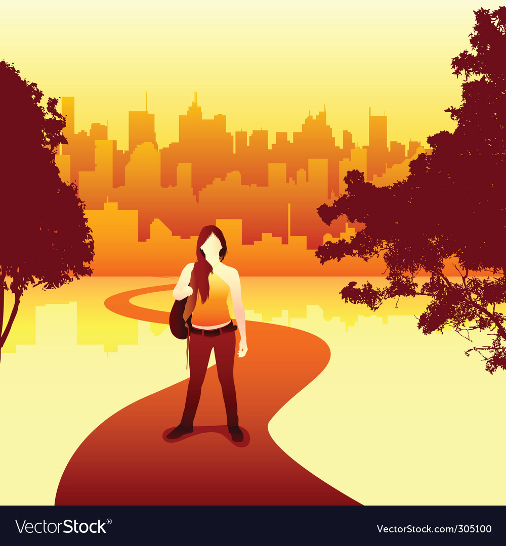 Women and city vector | Price: 1 Credit (USD $1)