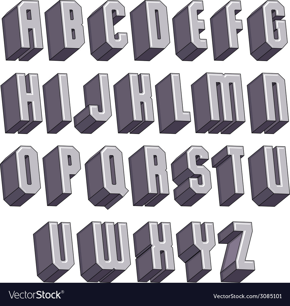 3d geometric bold font monochrome dimensional vector | Price: 1 Credit (USD $1)