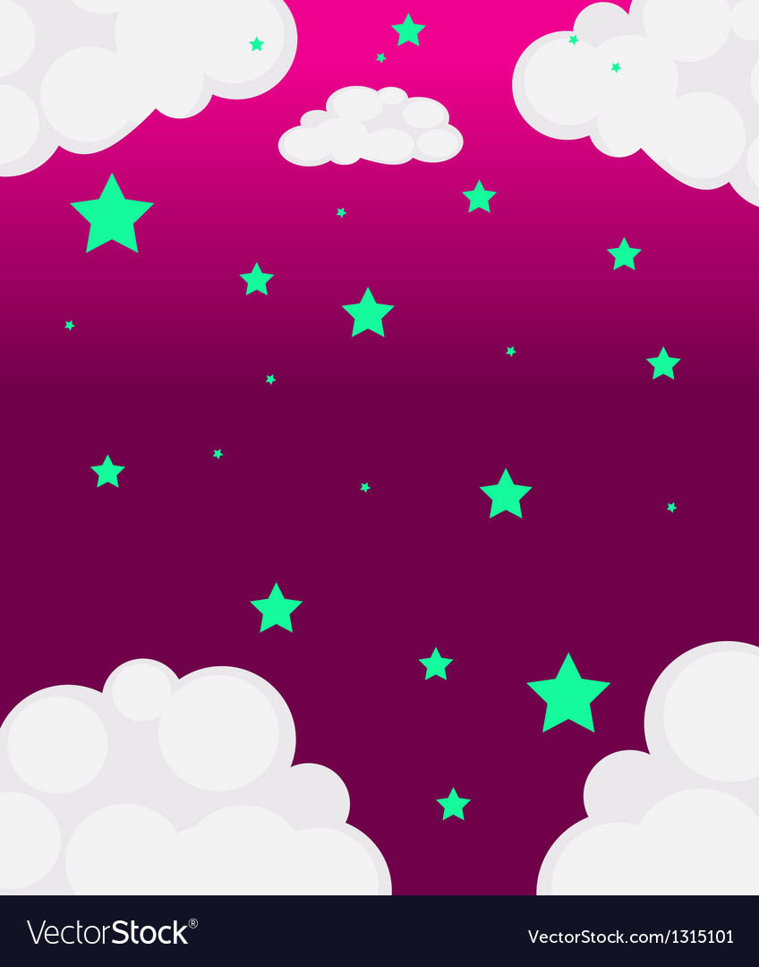 A pink sky with green stars vector | Price: 1 Credit (USD $1)