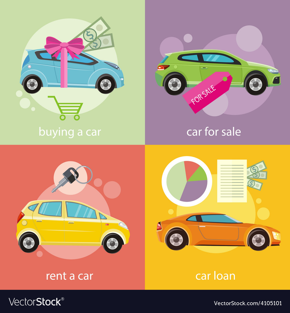 Buying car rent and loan vector | Price: 1 Credit (USD $1)