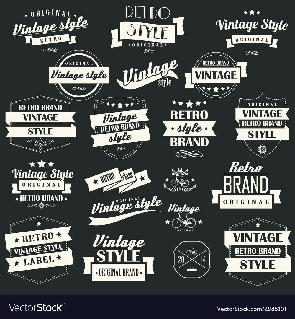 Collection of vintage retro labels badges stamps vector | Price: 1 Credit (USD $1)