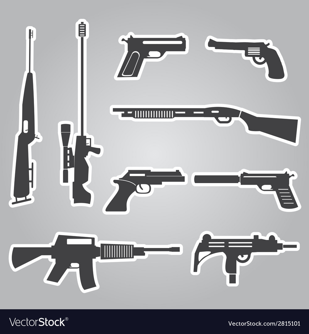 Firearms weapons and guns black stickers eps10 vector | Price: 1 Credit (USD $1)