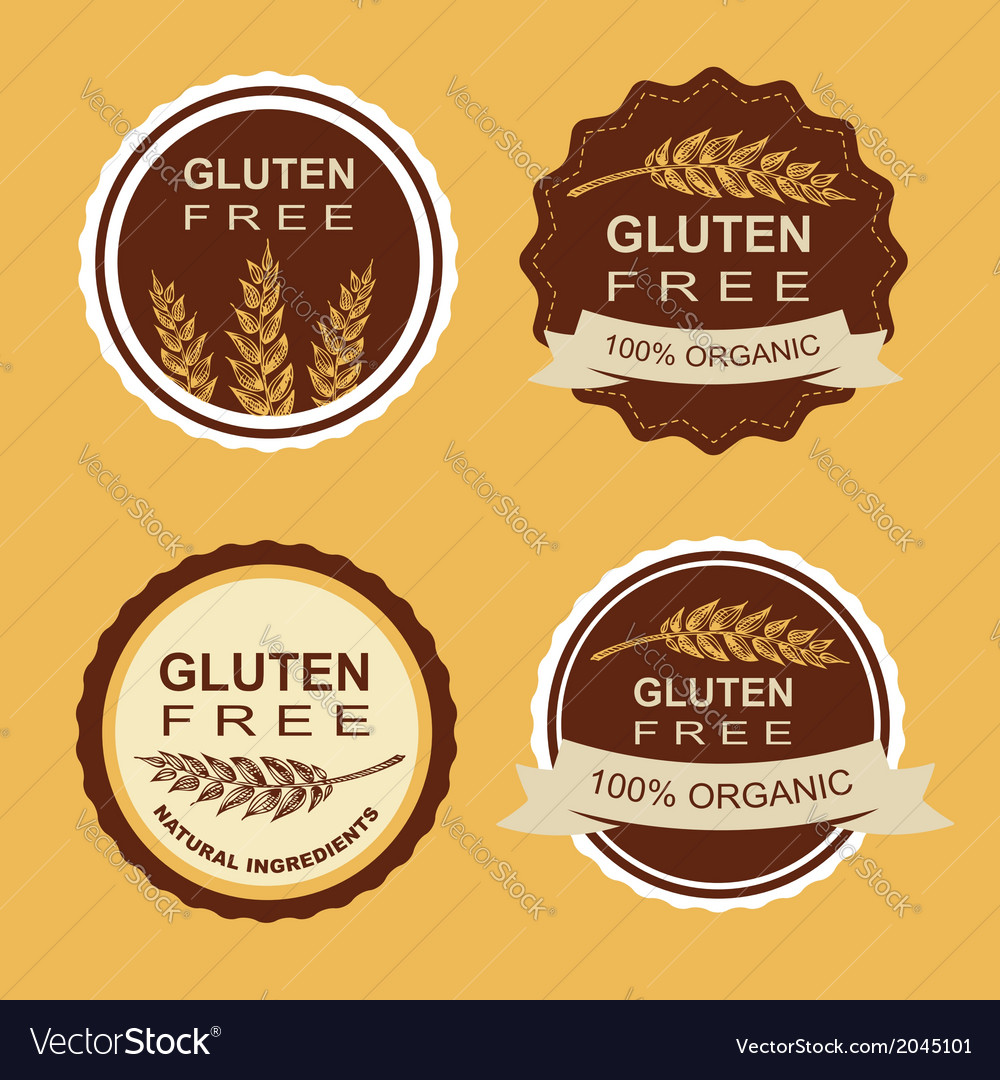 Gluten free and wheat labels retro design vector | Price: 1 Credit (USD $1)
