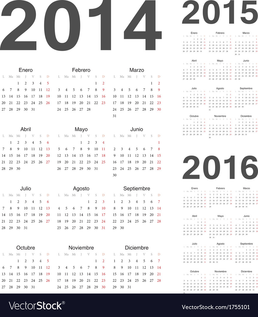 Spanish 2014 2015 2016 year calendars vector | Price: 1 Credit (USD $1)