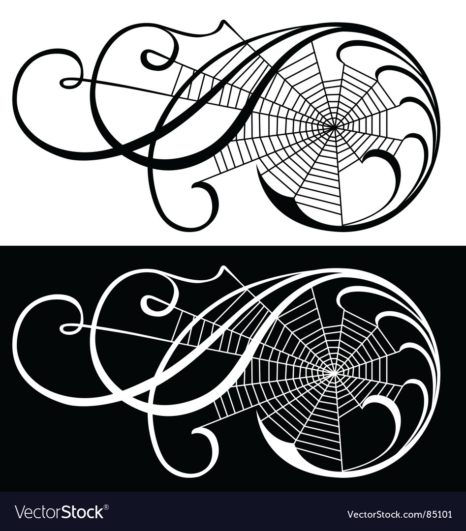 Spider web scroll vector | Price: 1 Credit (USD $1)