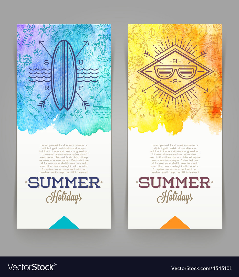 Summer holidays and travel banners with line vector | Price: 1 Credit (USD $1)