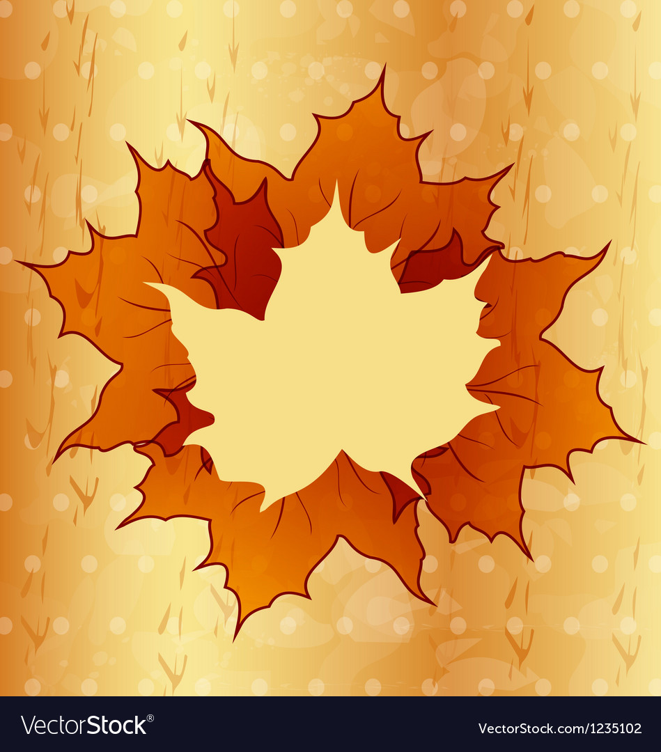 Autumnal maple leaves wooden texture vector | Price: 1 Credit (USD $1)