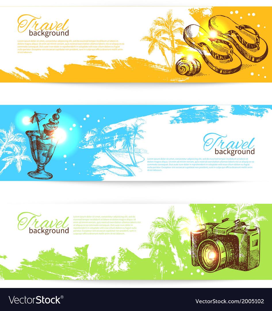 Banner set of travel colorful tropical splash vector | Price: 1 Credit (USD $1)