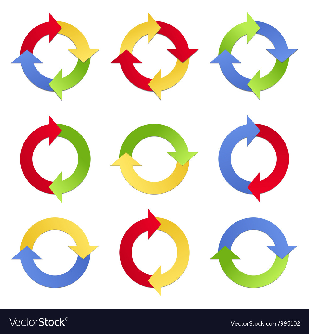 Colorful arrows in circles vector | Price: 1 Credit (USD $1)