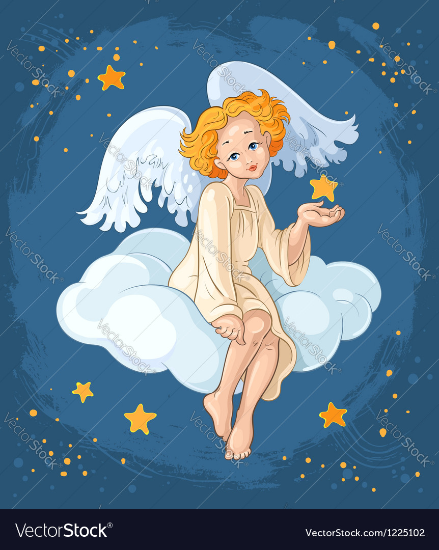 Cute angel girl sitting on a cloud vector | Price: 5 Credit (USD $5)
