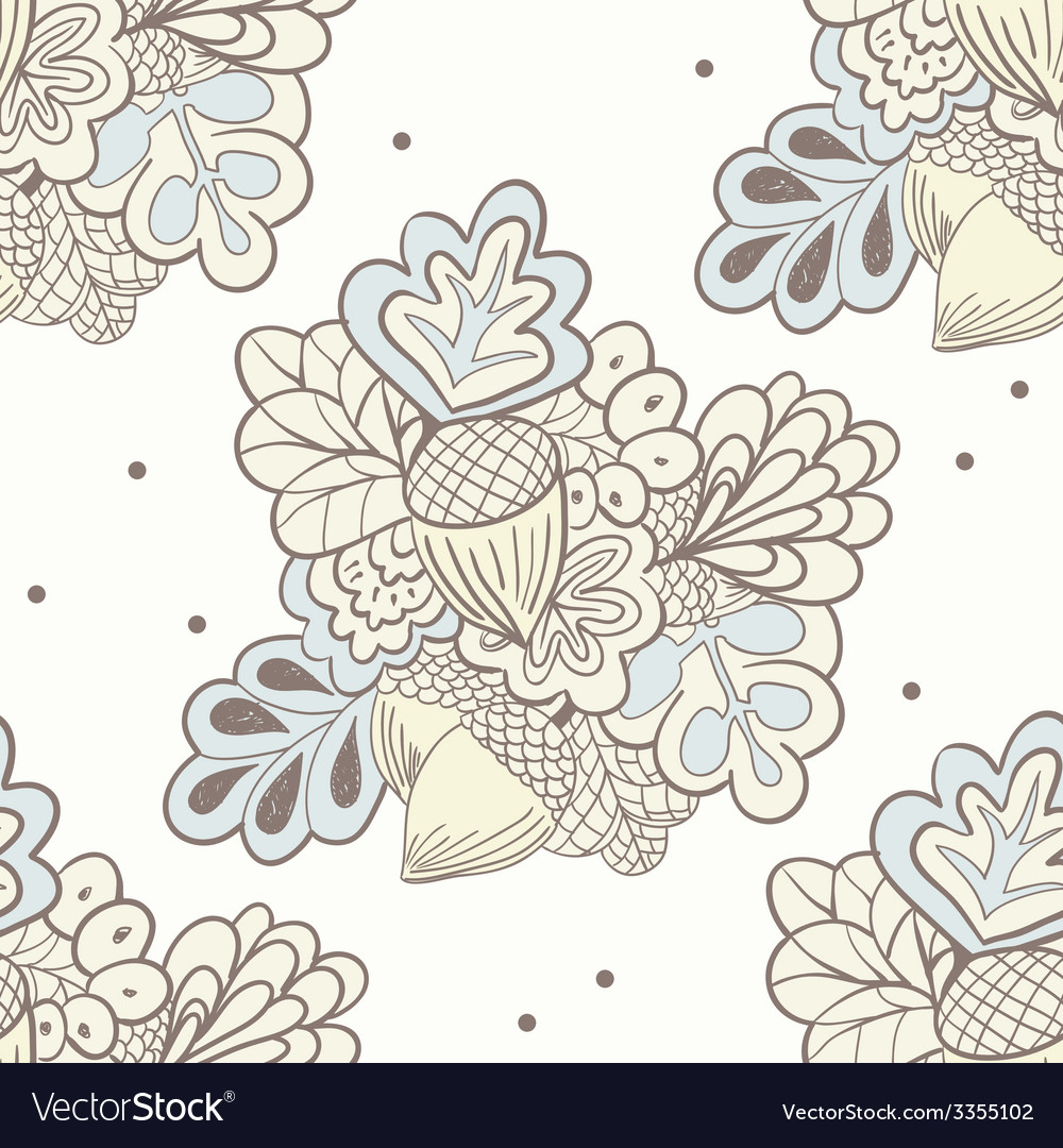 Hand drawing oak elements seamless pattern vector | Price: 1 Credit (USD $1)
