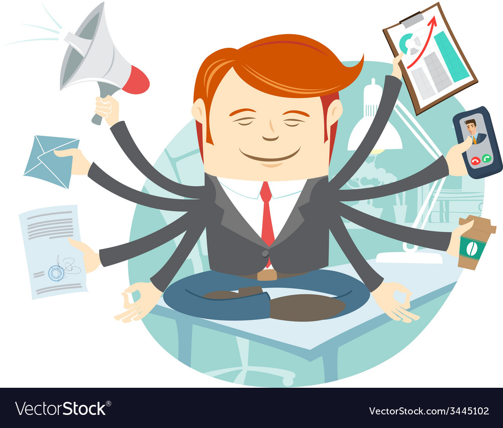 Office man with eight hands meditating in the vector | Price: 1 Credit (USD $1)