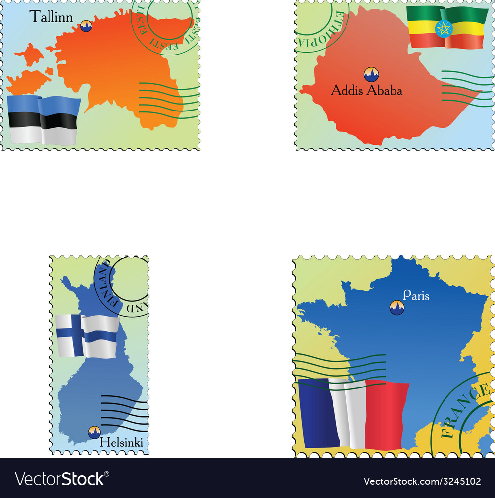 Stamp with an image of map vector   Price: 1 Credit (USD $1)
