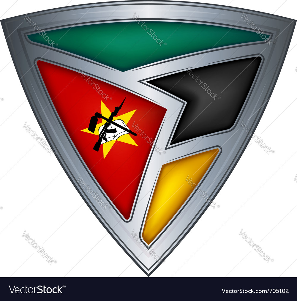 Steel shield with flag mozambique vector | Price: 1 Credit (USD $1)