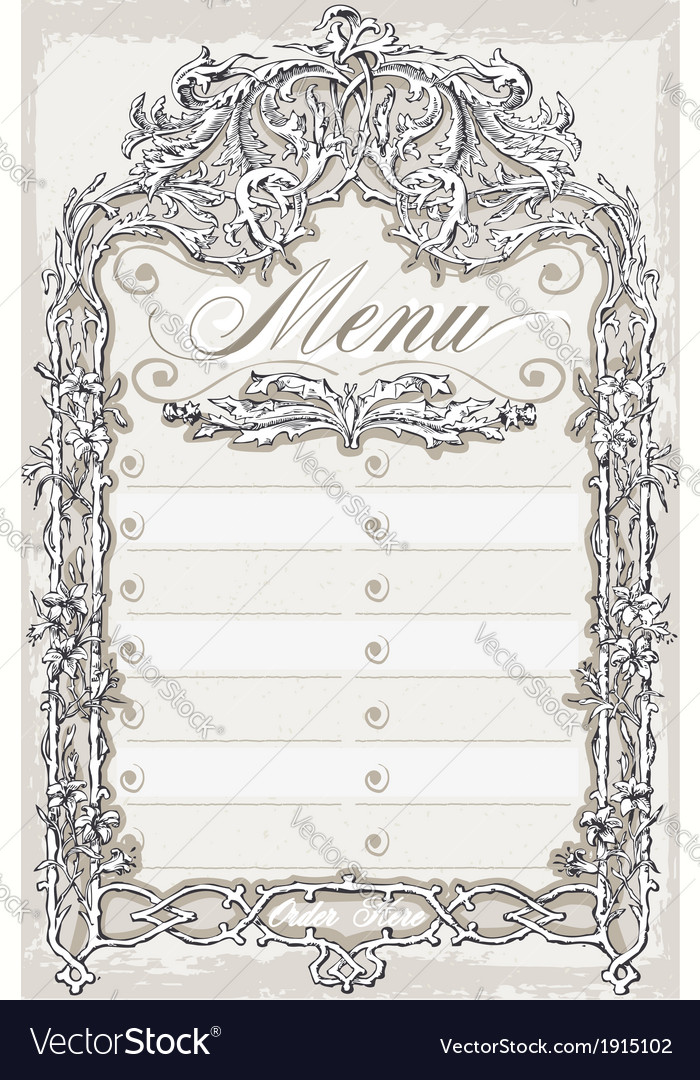 Vintage graphic page for bar or restaurant menu vector | Price: 1 Credit (USD $1)