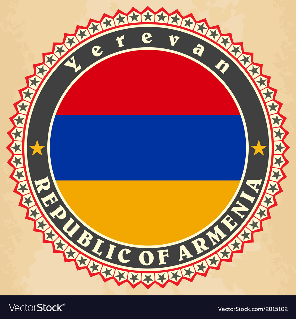 Vintage label cards of armenia flag vector | Price: 1 Credit (USD $1)