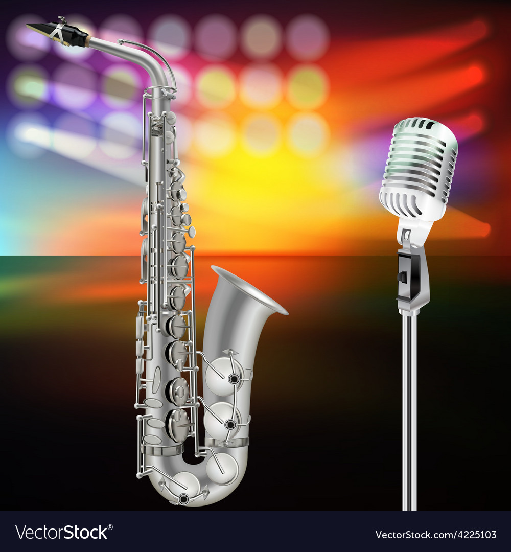 Abstract background with saxophone and microphone vector | Price: 3 Credit (USD $3)