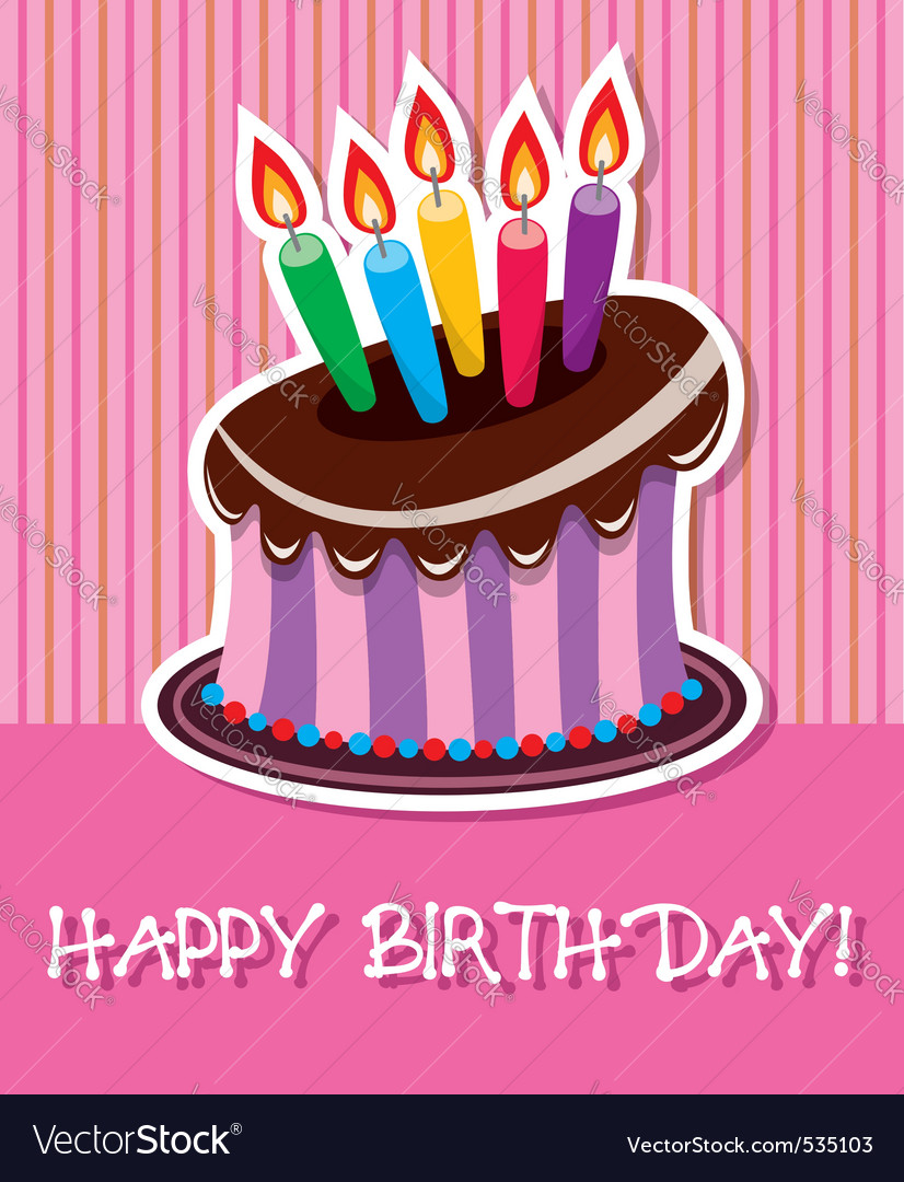birthday chocolate cake with burning candle vector | Price: 1 Credit (USD $1)