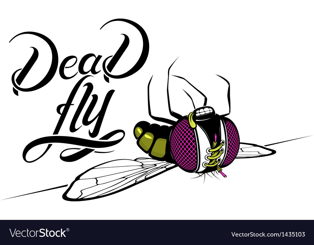 Funny cartoon dead fly vector | Price: 1 Credit (USD $1)