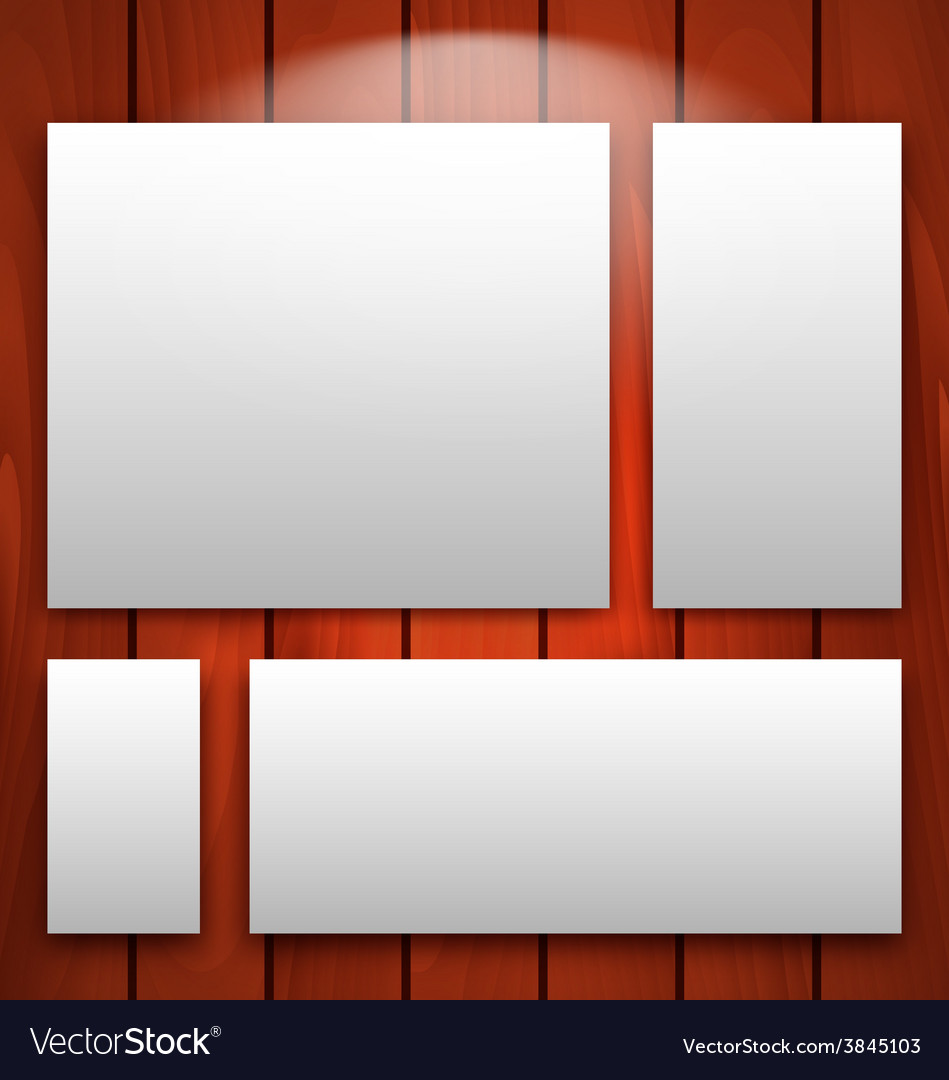 Gallery interior with empty frames on wooden wall vector | Price: 1 Credit (USD $1)