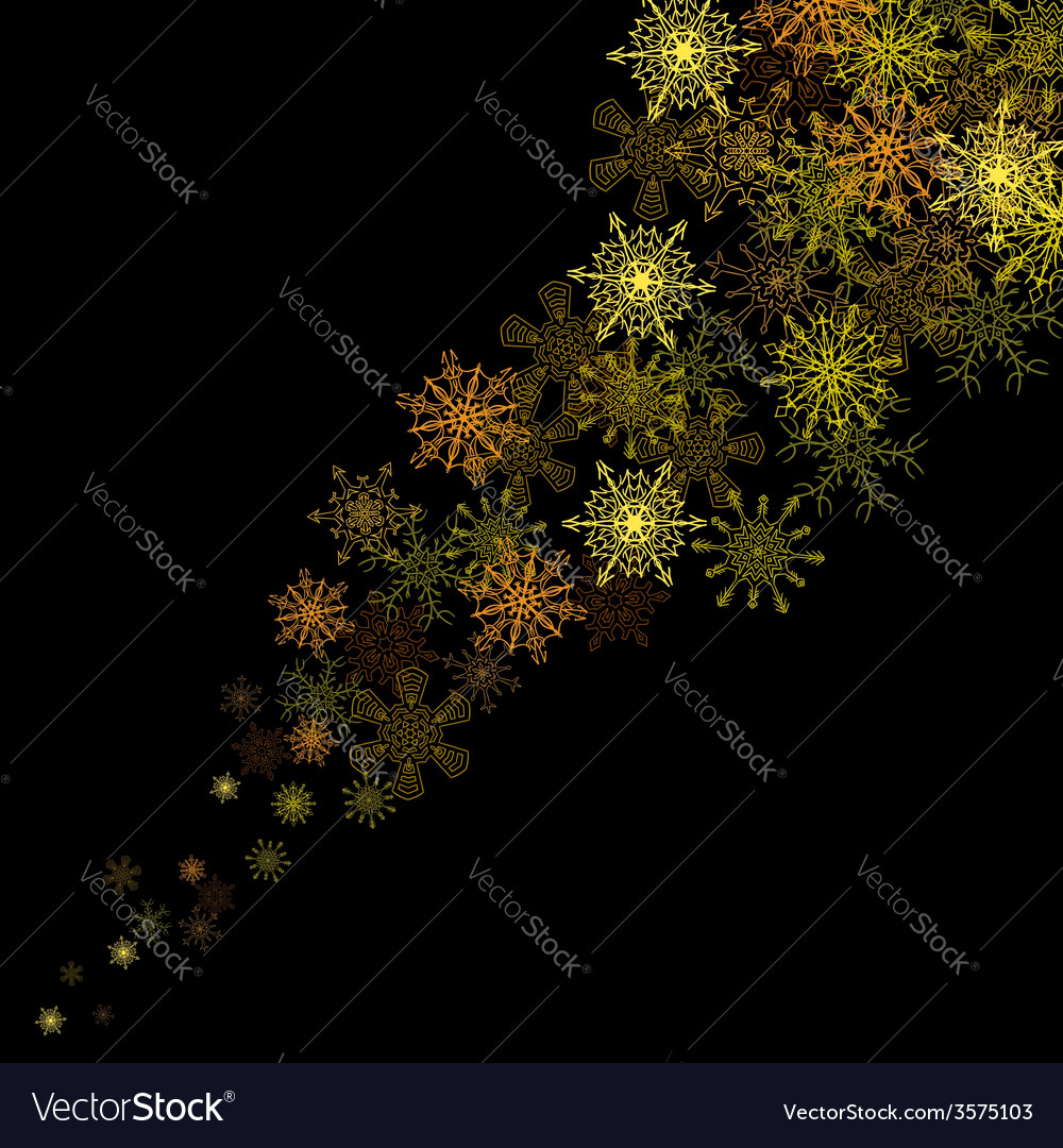 Golden snowflakes blizzard in the darkness vector | Price: 1 Credit (USD $1)