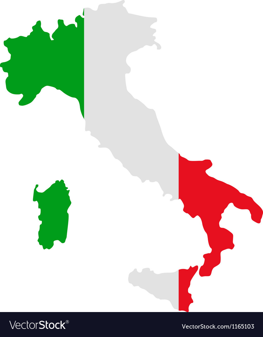 Map and flag of italy vector | Price: 1 Credit (USD $1)