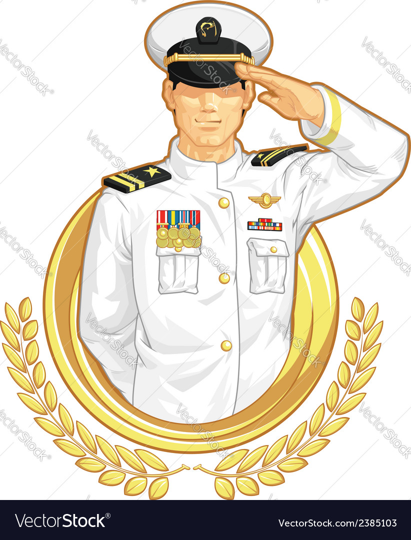 Military officer in salute gesture vector | Price: 1 Credit (USD $1)