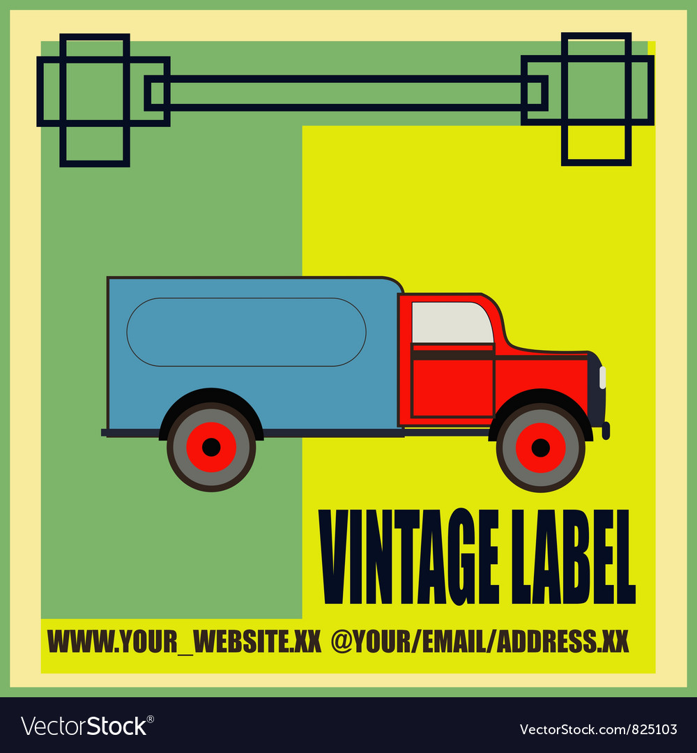 Retro van label vector | Price: 1 Credit (USD $1)