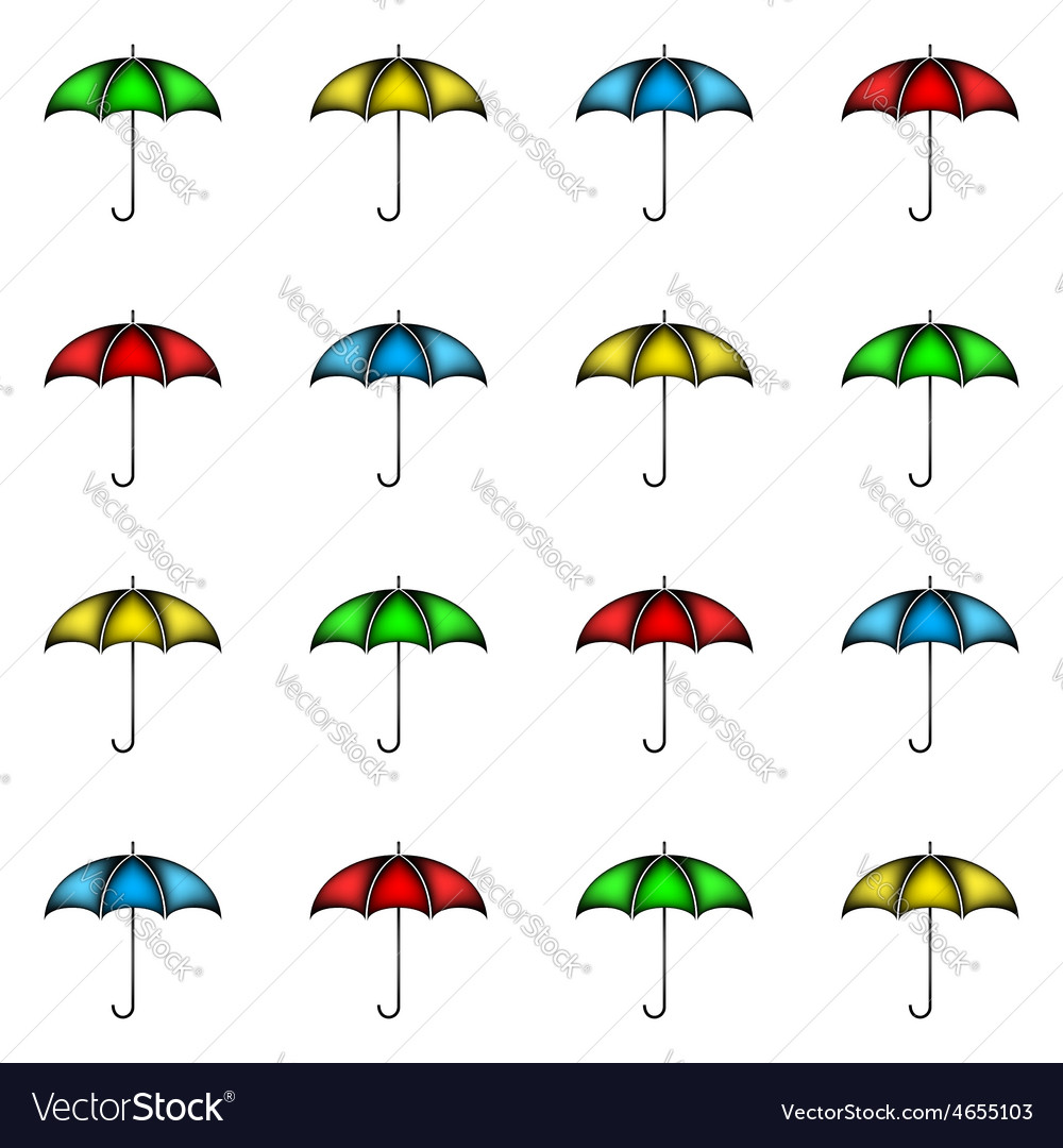 Seamless pattern of row colorful umbrellas vector | Price: 1 Credit (USD $1)