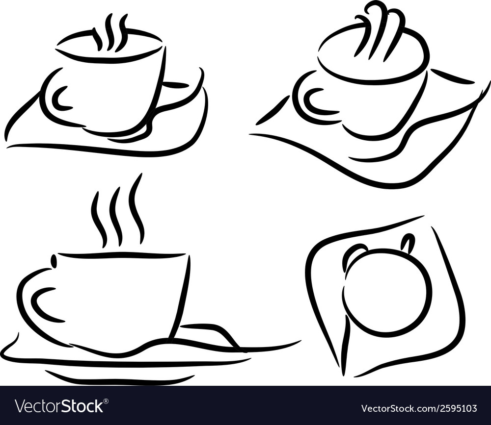 Set cup of coffee vector | Price: 1 Credit (USD $1)