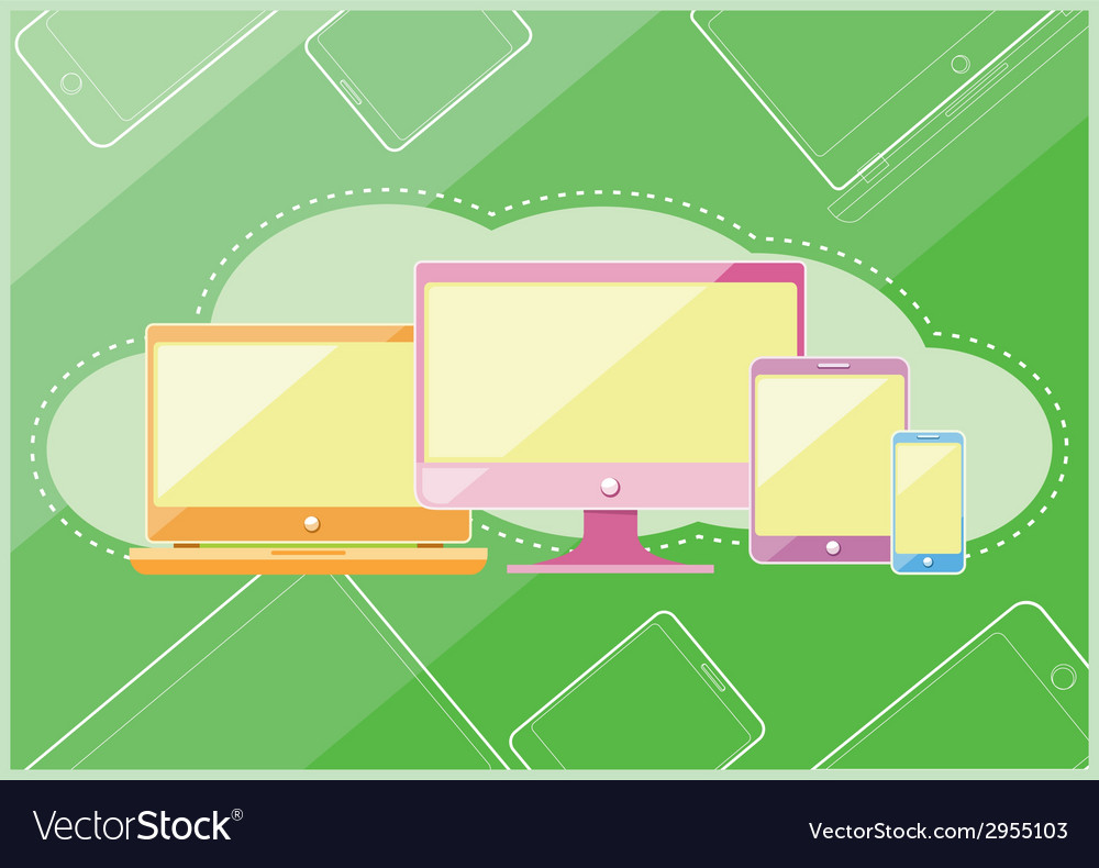 Set of display laptop computer smartphone vector | Price: 1 Credit (USD $1)