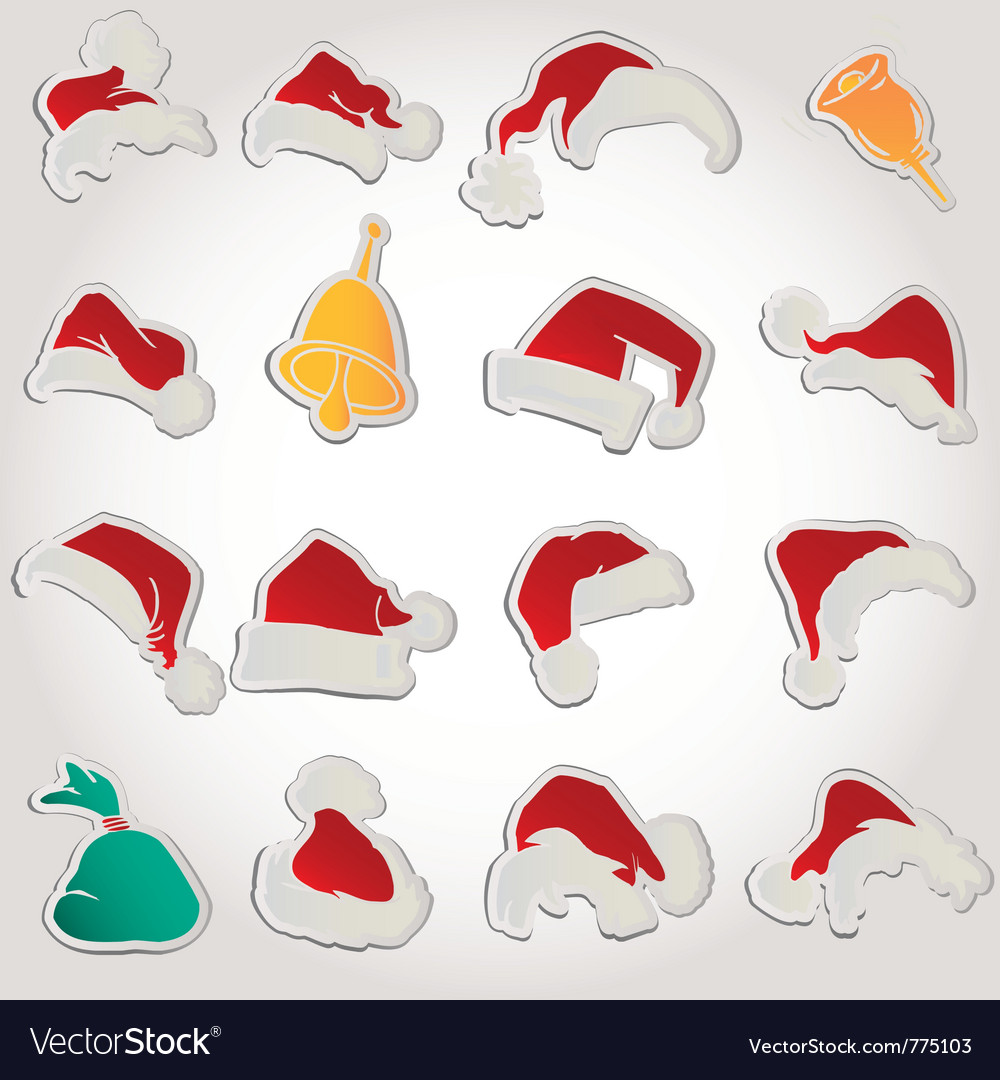 Set of red santa hats and clothing and christmas vector | Price: 1 Credit (USD $1)