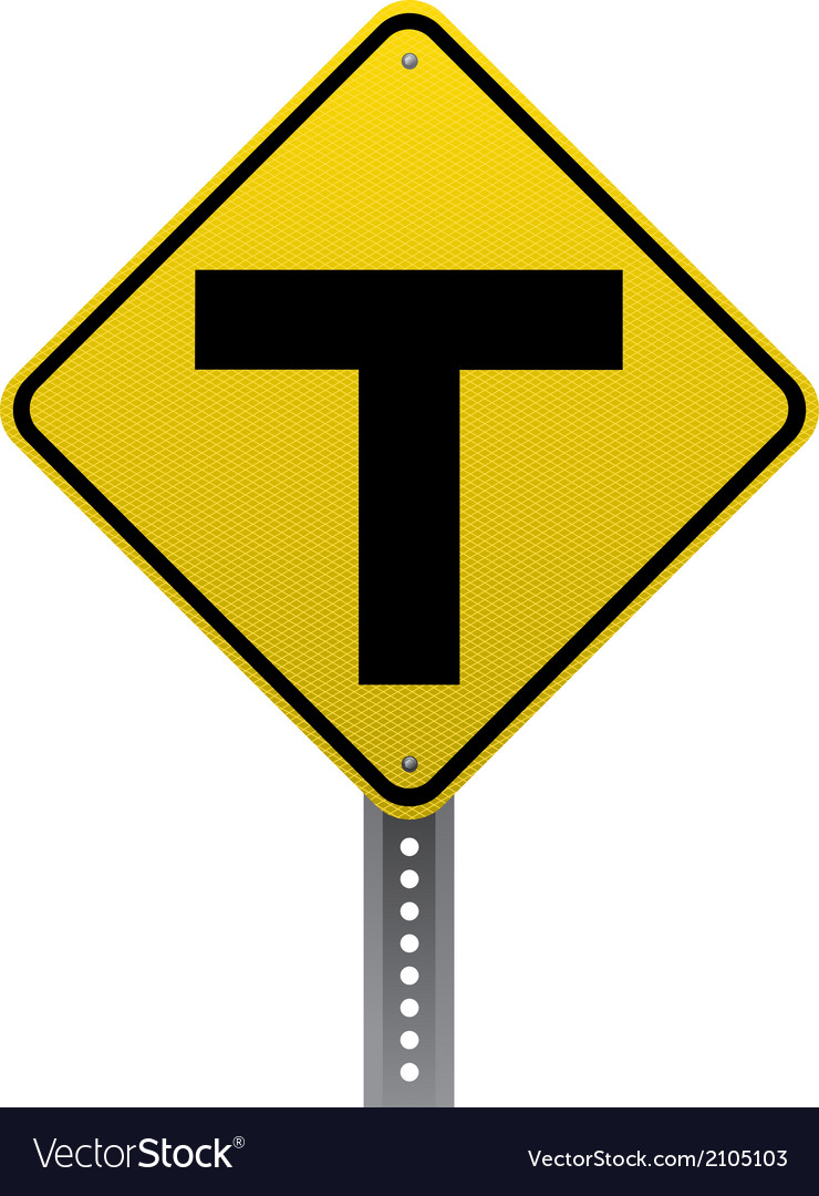 T-intersection sign vector | Price: 1 Credit (USD $1)