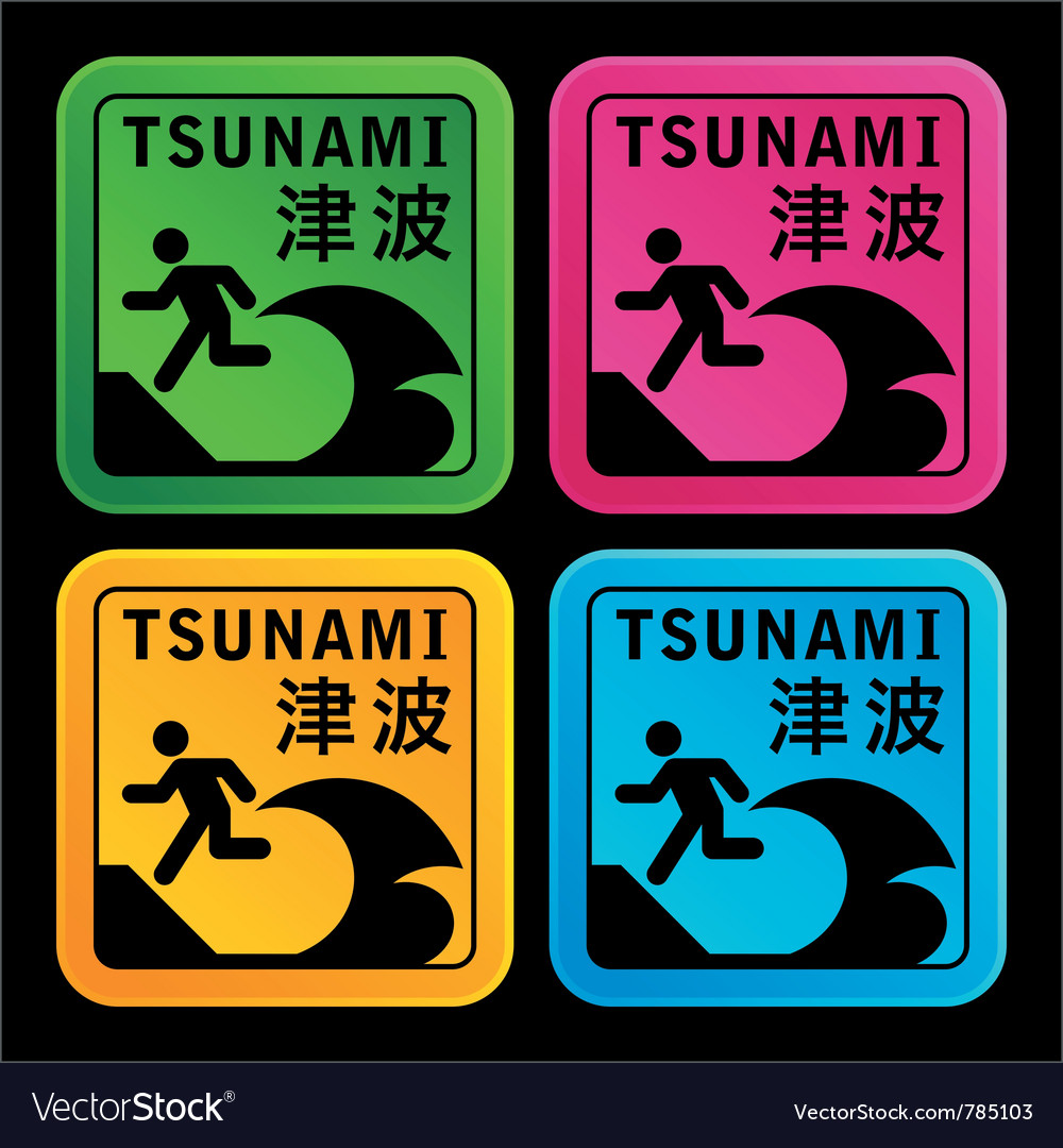Tsunami warining signs vector | Price: 1 Credit (USD $1)