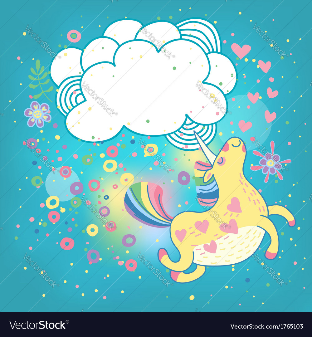 Unicorn rainbow in the clouds vector