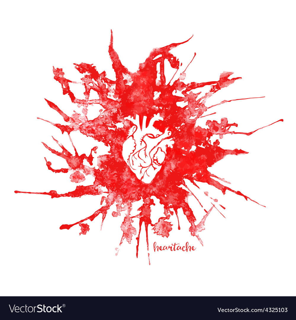 Watercolor heart in red splash vector | Price: 1 Credit (USD $1)